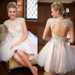 Wholesale Strapless Champagne Short Dress Sale - 2016 New Fashion Short Homecoming Dresses Sheer Neck Lace Appliques Backless A Line Mini Ivory Party Prom Graduation Gowns Cheap Hot Sale