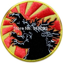"Wholesale king japan - 3"" KING OF THE MONSTERS GODZILLA Japan Flag Patch Iron on BADGE TV Movie Series Halloween Cosplay Costume Party Supplies"