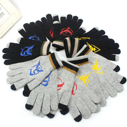 Wholesale Wholesale Knit Kids Gloves - Poke go Pikachu Gloves Men women big kids Sticker Instinc Mystic Valor Instinct camp Logo Cartoon Knitted Five Fingers Gloves B001