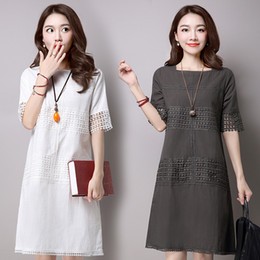 Wholesale Korean New Women Clothing - Summer dress Original 2016 Summer new style Korean style Plus-size Casual Women's Clothing Loose Slim Lace combination Women dresses