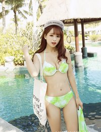 Wholesale High Waist Swimsuit Small - 2016 new European and American swimsuit lady small fresh high elastic wear three-piece bikini swimsuit Spa