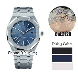 Wholesale sapphire royal - Best Version 41mm Royal Blue Texture Dial Cal.3120 Automatic Sapphire Glass Mens Watch 15400 Dive BF Date Sports Watches AAAAA Top Quality