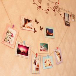"""Wholesale Wall Photos Frames - New Arrive Decoration Home Art Wall 8pcs 6"""" Hanging Photo Picture Frames + Wood Clips& Rope"""
