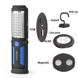 Wholesale Usb 36 - Super Bright Usb Charging 36 +5 Led Flashlight Work Light Torch Linternas Magnetic +Hook Mobile Power Bank For Your Phone Outdoor