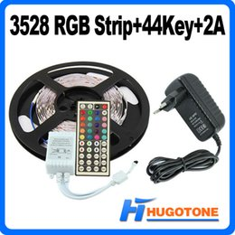Wholesale 24 Dc Power Supply - Waterproof 300Led SMD 3528 RGB Flexible Led Strip Changable Lights 120 Degrees with 24 Keys 44 Keys IR Remote +12V 2A Power Supply