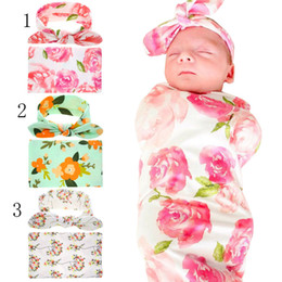 Wholesale Donuts Bag - Kids cotton Donuts Floral Blankets+Rabbit ears headband 2pcs set infant Flower printing Swaddling baby bed sheet Sleeping Bag 90*90cm C2468