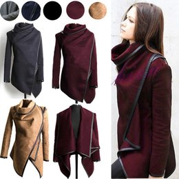 Wholesale winter jackets for women casual - 2016 Fall Winter Clothes for Women New European and American Wool & Blends Coats Ladies Trim Personality Asymmetric Rules Short Jacket Coats