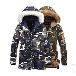 Wholesale Parking Cover - Wholesale- Camouflage new winter long section of thick fur collar cotton coat quilted jacket lightweight jacket cotton wadded coat park men