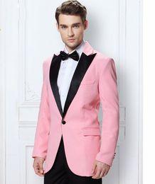 Wholesale Men S Blazer Pink - Wholesale-Pink Peak Lapel Men's Dinner Party Prom Suits Groom Tuxedos Groomsmen Man Wedding Blazer Suits (Jacket+Pants+Tie) NO:216