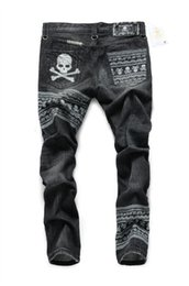 Wholesale Coat Skull Fashion - Wholesale- free shipping The new high-end custom embroidered skull mastermind japan MMJ Patchwork tide brand men's jeans
