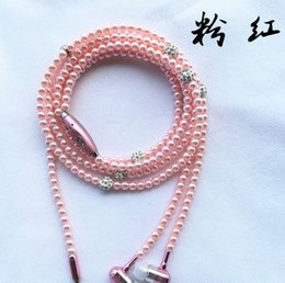 Wholesale Diamond Earphone Headphones - Phone Mp3 Headphone In Ear Diamond Pearl beads couple wire necklace Earphones With Mic Fashional gift Girls earbuds headset