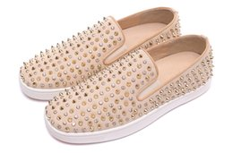 Wholesale Beige Platform Pumps Patent - Beige Cashmere Gold Drilling Screw Suede with Spikes and Diamond Casual Mens Womens Shoes Sneakers Women Platform Pumps