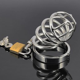 Wholesale Metal Bondage Restraints - Chastity Device Metal Chastity Cage Stainless Steel Cock Cage Male Chastity Belt Penis Rings Bondage Restraints Sex Toys For Men