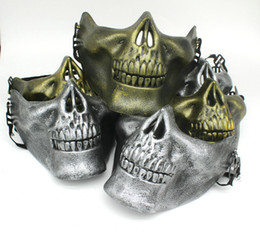 Wholesale Paintball Mask Airsoft - DHL Free Halloween Skull Masks Skull Skeleton Airsoft Paintball Half Face Protective Mask