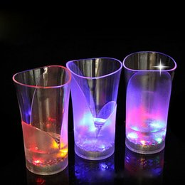 Wholesale New Years Led Glasses - 1pcs 370ml Lighting Up With Water Cups LED Mugs Wineglass Water Induction Flash Cup Vase Glass led cup wine glass for party