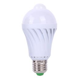 Wholesale smart eggs - Wholesale- 1pcs PIR Motion Sensor Lamp 5W Led E27 Bulb Auto Smart Led PIR Infrared Body Lamp with the Motion Sensor Lights