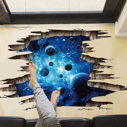 Wholesale Vinyl Floor Graphics - lanets wall stickers Ceiling Flooring Series Creative 3D Deep Blue Milky Way Planet Wall Stickers Ceiling TV Sofa Backdrop Mural Decal Ho...