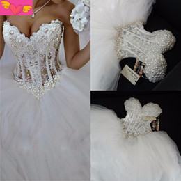 Wholesale Corset Pearl Wedding Dresses - Luxurious Bling Strapless Wedding Dresses Corset Bodice Sheer Bridal Ball Crystal Pearl Beads Rhinestones Tulle Wedding Gowns
