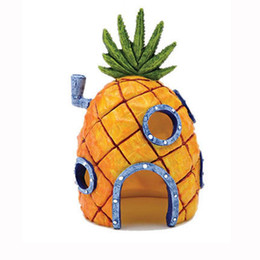 Wholesale Fish Holes - hot Mini Pineapple Cartoon House Home Fish Tank Aquarium Ornament Decorations Escape Hole