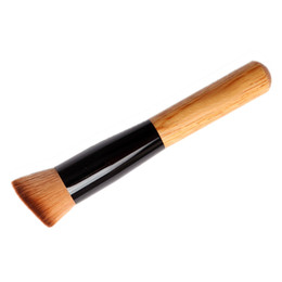 Wholesale Flat Top Buffer - Makeup Brushes Professional Short Handle Nylon Fiber Hair Angled Flat Top Buffer Brush Bamboo Face Base Liquid Foundation Cosmetic