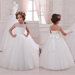 Wholesale Cheap Formal Gown Kids - 2017 Cheap Sheer Jewel Neck Flower Girl Dresses Princess Tulle Long with Bow Know Lace Up Back Kids Formal Christmas Party Gowns