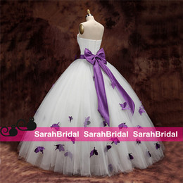 Wholesale Yellow Quinceanera Dresses For Sale - 2015 White Ivory Tulle Quinceanera Dresses with Purple Butterfly For Sweet 16 Juniors Girls Sale Pearls Strapless Ball Prom Evening Gowns