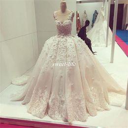 Wholesale Vestido Dubai Bridal - 3D Floral Appliques Wedding Dresses 2016 Ball Gown Illusion Crew Neck Saudi Arabic Princess Dubai Kaftan Vestido De Novia Lace Bridal Gowns