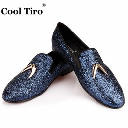 Wholesale Ocean Dresses - Navy blue Glitter Glistening Loafers Mens Flats Shark Tooth Tassel Slippers Smoking Party Wedding Sequins Dress Shoes Genuine Leather Casual