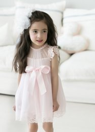 Wholesale Cute Dress Korea Girl - 2016 Summer Cute Baby Girls Princess Dress Kids Beaded Bowknot Lace Cotton Tulle Ball Gown Tutu Party Dress Korea Fashion Children Clothes