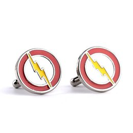 Wholesale Cufflink Flash - Alloy super hero lightning The Flash Cufflink Cuff Links sleeve button for men women shirts dress suit Cuff-links luxury jewelry 170351