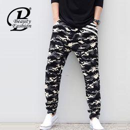 Wholesale Cheap Cross Clothing - Wholesale-2016 New Man Camouflage Biker Denim Jeans Men Loose Denim Cross-Pants Male Famous Brand Hip Hop Harem Pants Cheap Clothing 5XL