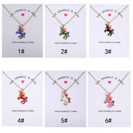Wholesale Colored Glaze - Hot Dogeared Necklace For Women Short Clavicle Jewelry Colored Glaze Horses Rainbow Unicorn Colored Glaze Horses Pendant Cute Party Gift