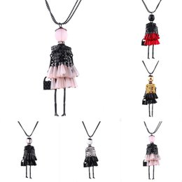 Wholesale Crystal Doll Necklace - 10Pcs Lot Mixlot Fashion Women Jewelry New Design Girls Pendant Necklace Tassel Doll Pearl Crystal Long Sweater Chain