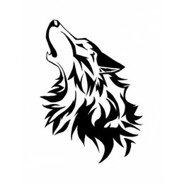 Wholesale hot bumper stickers - Hot Sale Car Styling Cute Intoxicated Howling Wolf Car Sticker Vinyl Car Bumper Decal JDM
