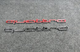 Wholesale Low Stickers - High quality Quattro Logo Emblem Badge Car Stick ABS Stickers front grill Lower trim For Audi A4 A5 A6 A7 RS5 RS6 RS7 RS Q3