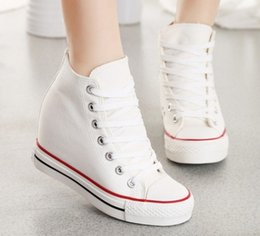 Wholesale Womens White Wedges - wholesale 2015 womens wedges platform shoes white canvas women hidden height high top height increasing zapatos scarpe donna YG906 free