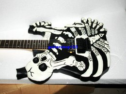 Wholesale Cheap String Electric Guitars - NEW Custom Shop Skeleton Skull and Bones Limited Electric Guitar IN black white Free shipping High Cheap