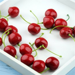 Wholesale Decoration Vegetable - New Arrival Artificial Fruits Simulation Cherry Cherries Fake Fruit and Vegetables Home Decoration Shoot Props 4137