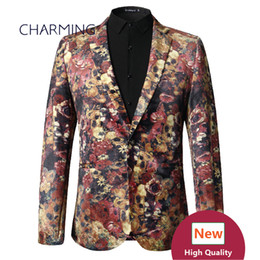 Wholesale Stage Wear Suits - Fashion stage performance clothing Mens suit coat High quality 3D digital printing gold velvet fabric 1PCS wholesale groom quality mens sui