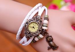 Relógio de couro trançado on-line-Coruja pulseira de couro relógios de pulso pulseira de couro retro trançado pulseira de couro retro relógio coruja pulseira de couro relógios de pulso