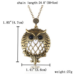 Wholesale Magnifying Glass Chain - Fashion Vintage magnifying glass necklace Cute Owl Carved Hollow out long Necklace