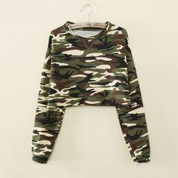 Gros-M / L / XL Mode Nouvelles Femmes Casual Camouflage À Manches Longues T-shirts À Manches Longues Crop Top Camouflage Hoodies Taille Haute Pullovers ? partir de fabricateur