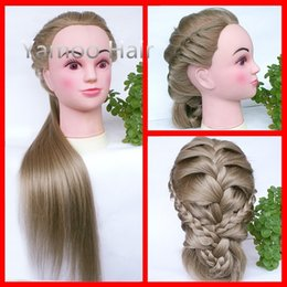 Wholesale Hair Styling Mannequins - flaxen 75cm 100% Heat Resistant Synthetic Fiber Female hair styling mannequins Head High Quality free shipping training head
