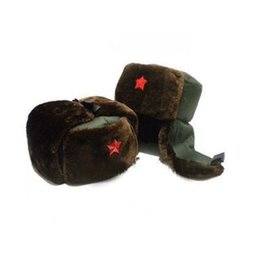 Wholesale Hat Ushanka - Chinese Russian Army Trooper Hat Ushanka winter Green Warm Cap Red Star Badge