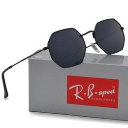 Wholesale Polygon Mirror - New arrival Polygon sunglasses men women brand design Metal frame feminino masculi mirror sun glasses oculos de sol with free cases and box