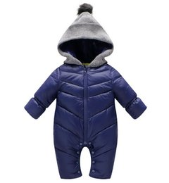 Wholesale Thick Baby Costumes - Newborn Baby Rompers Winter Thick Cotton Boys Costume Girls Warm Clothes Babies Jumpsuit Children Outerwear Baby Wear Snowsuit free shipping