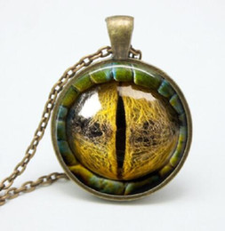 Wholesale Copper Necklace Wholesale - Three-dimensional dragon eye Necklace Pendant colorful eye pendant Glass Cabochon Dome Necklaces jewelry Bestselling New FTCN49