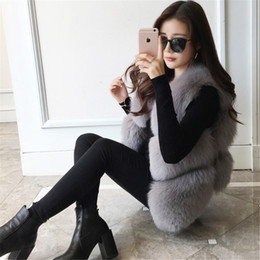 Wholesale Black Fur Gilet - Women Real Fox Fur Vest Female Winter Autumn Genuine Fox Fur Waistcoat Coat Fashion Lady Gilet Natural Real Fur Vest for Women