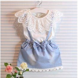 Wholesale Girls Denim Dress Winter - Children Set Kids Suit Outfits Girl Dress Summer Lace White T Shirts Baby Denim Skirt Kid Dress Suits Child Clothes Kids Clothing C7856