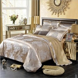 Wholesale Satin Sheet Set Free Shipping - 2017 New full-cotton european-style satin jacquard bed with four sets of wedding home spun silk sheet quilt cover washing cotton free ship